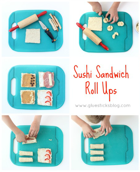 """""""Sushi"""" sandwich rolls ups are a quick and easy recipe for kids! A great intro to cutting skills and flavor combinations."""