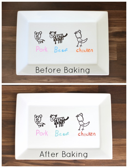Create a personalized gift with oil based Sharpie pens! Decorate porcelain platters, bowls, or mugs for a one of a kind Father's Day gift this year! We made a darling grill platter and baked it in the oven to set the paint. Make sure to hand wash it to make it last!