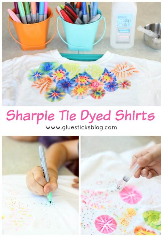 This quick and easy Sharpie tie dye tutorial will show you how to tie dye a shirt with Sharpie markers. (Mock tie dye) Such a fun activity to make with kids and the best part is watching the ink bleed and transform into so many neat designs!