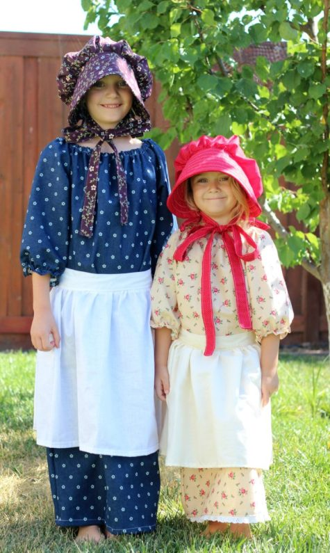 Homemade Pioneer Costumes for Girls Bonnet Apron and Simple Dress
