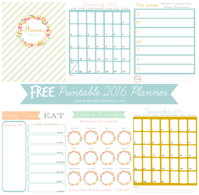 Planner Calendar Notebook Free Download : Free printable planner gluesticks