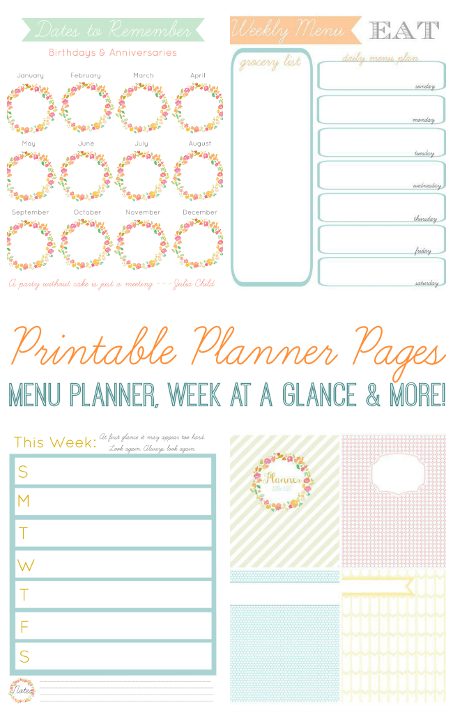 free planner pages to keep you organized monthly calendar pages menu planner grocery