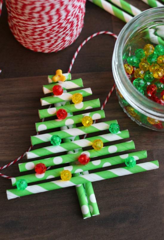 Paper Straw Christmas Trees Gluesticks