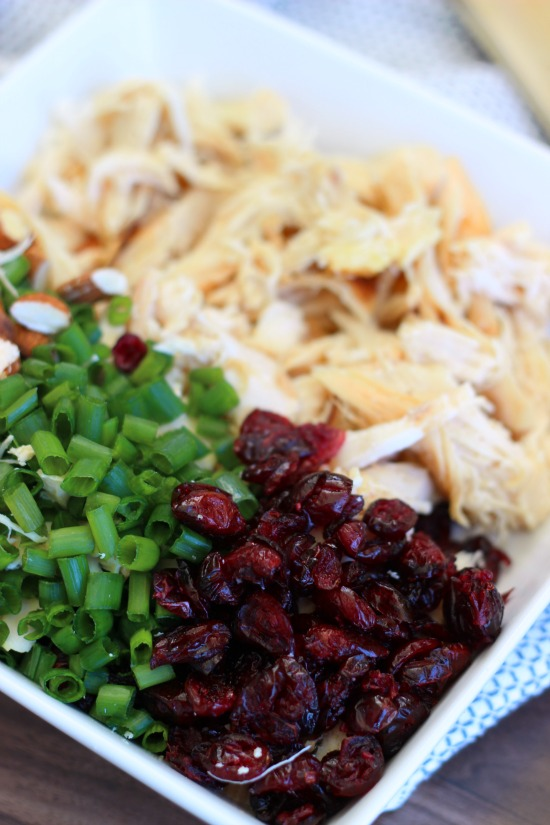 craisins, onions, chicken, almonds in bowl