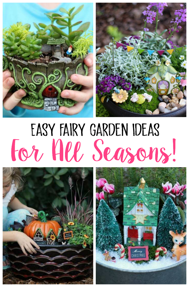 Easy fairy garden ideas for all seasons. Winter, spring, summer, and fall inspiration to brighten your home and porch. Make one outdoor, indoors, with plants, with flowers, or with succulents! You can make it in a barrel, a milk jug, a pot, or a teacup.