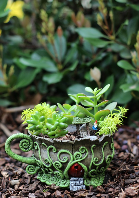 A whimsical fairy garden that will fit in the palm of your hand. This teacup fairy garden adds the perfect amount of magic to any windowsill or shelf!