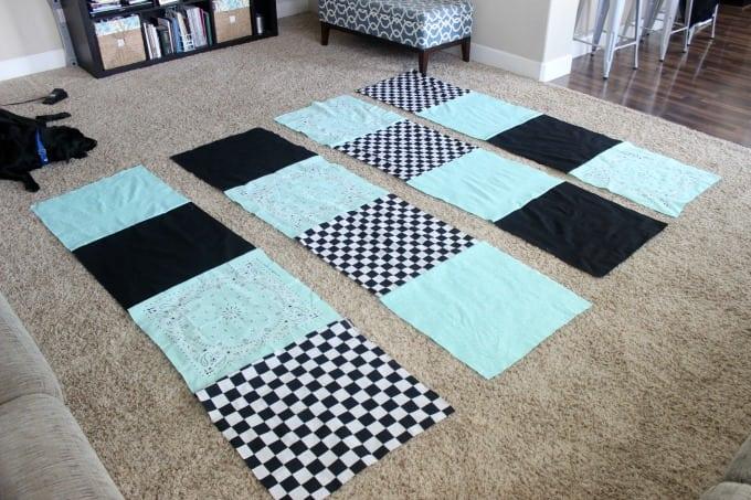 rows of bandannas sewn together