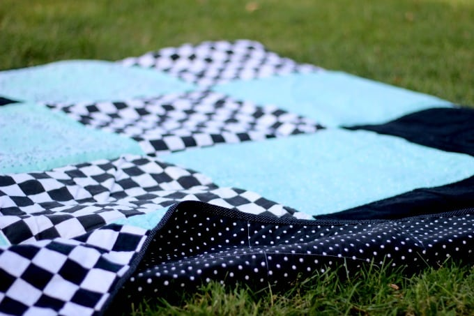 bandanna picnic blanket on lawn