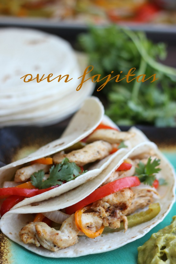 Seasoned chicken, bell peppers, onions, and sliced chicken all baked together on a sheet pan for the perfect blend of flavors. Oven fajitas are a great weeknight meal. Serve with warm flour tortillas, guacamole, and sour cream.