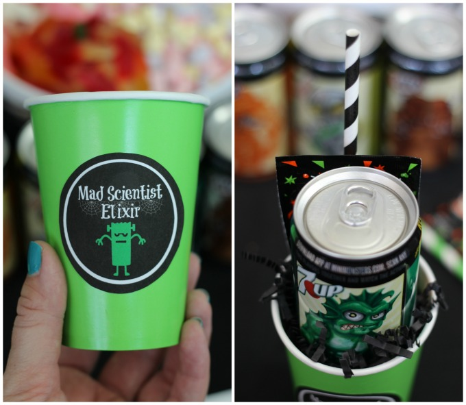 What do you get when you combine a mini can of soda and fizzing candy? A Mad Scientist Elixir that bubbles and is sure to unleash something frightful! These Mad Scientist party favors are sure to be a hit this year.