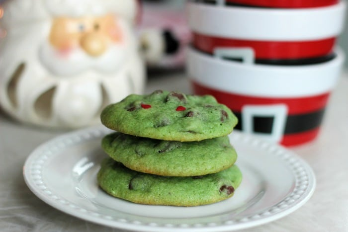 Mint Chocolate Chip Grinch Cookies