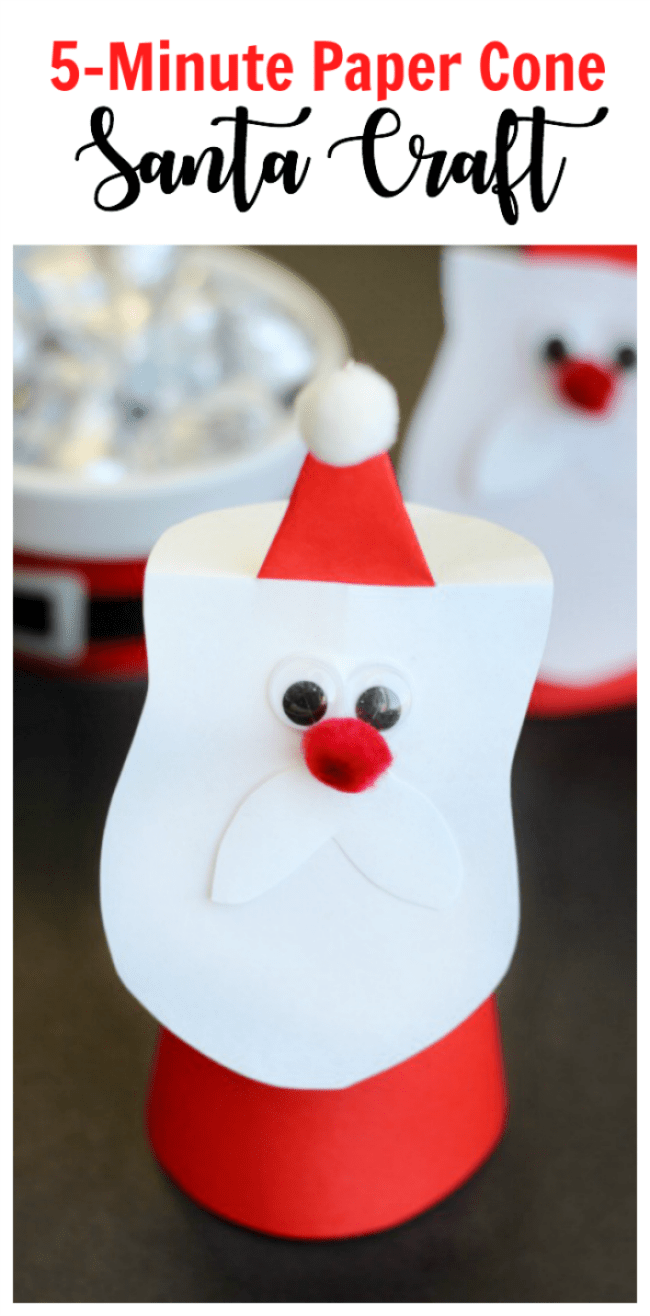 Paper Cone Santa Craft An Easy Holiday Craft For Kids