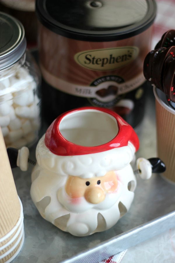 Set up a small hot cocoa bar as a centerpiece for the month of December! Perfect to fit on your kitchen table to enjoy a cup of warm cocoa whenever you'd like!