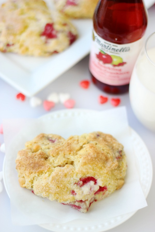 white chocolate raspberry scone on plate