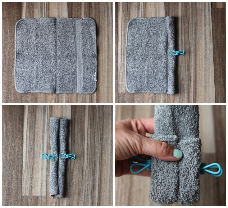 4 photos to show how to fold wash cloth