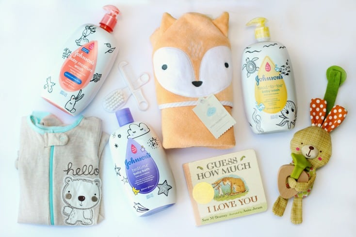 A soothing baby bedtime bath kit with everything needed to wind down at the end of the day. A cozy towel, pajamas, a bedtime story, favorite toy, and a variety of soothing baby bath products all tucked inside a nursery basket for easy gift giving and future storage.