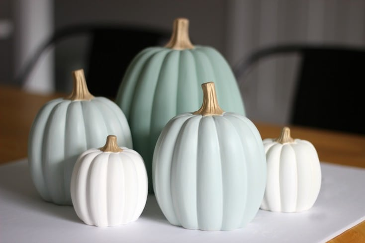Make your own set of ceramic painted pumpkins to match your fall decor this year! A quick and easy afternoon project.