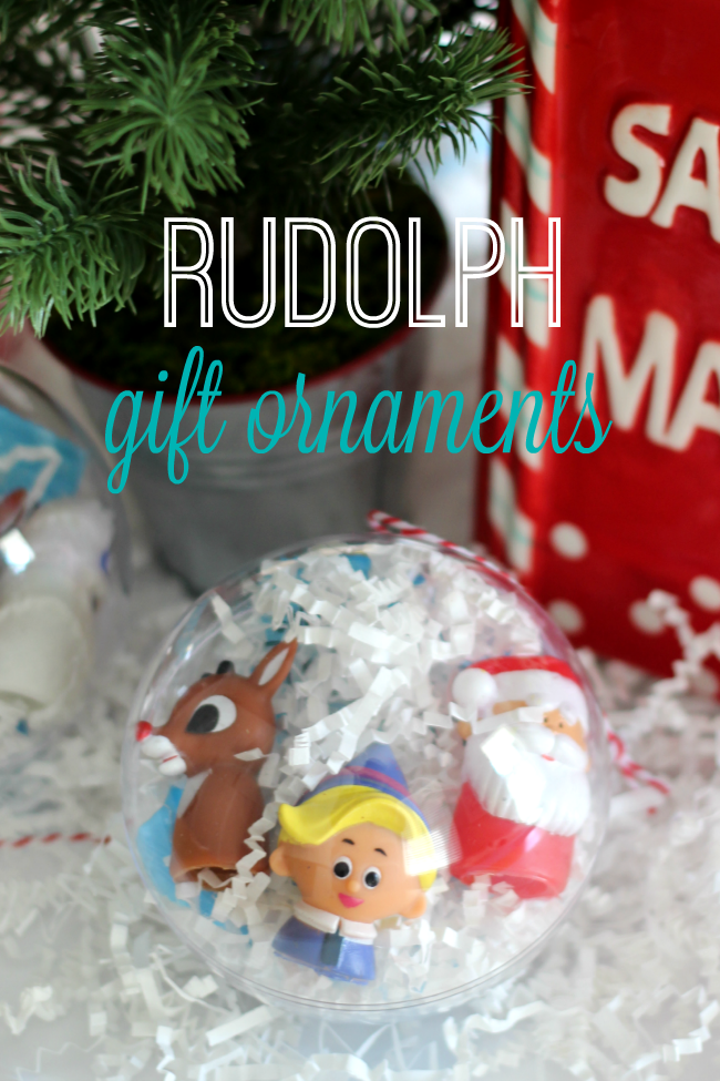 Rudolph Ornament Gift Idea Made from Clear Plastic Ornaments