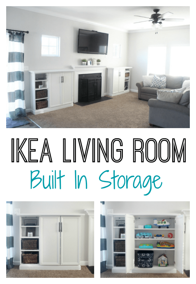 Organize your living room and make built ins for books, toys, and electronics with IKEA bookcases! Add trim, doors, hardware, and a top for a custom look.