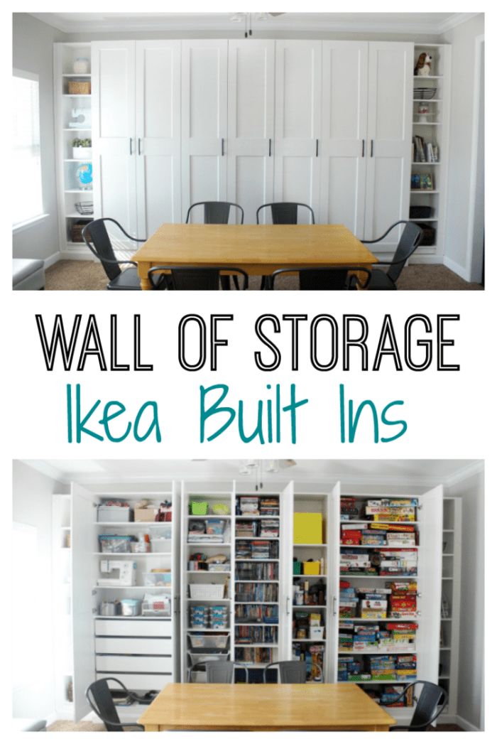Create a wall of custom bookcases my customizing wardrobes and bookcases for a beautiful wall of IKEA built-ins. Its perfect for maximizing storage in a den, office, or bedroom.