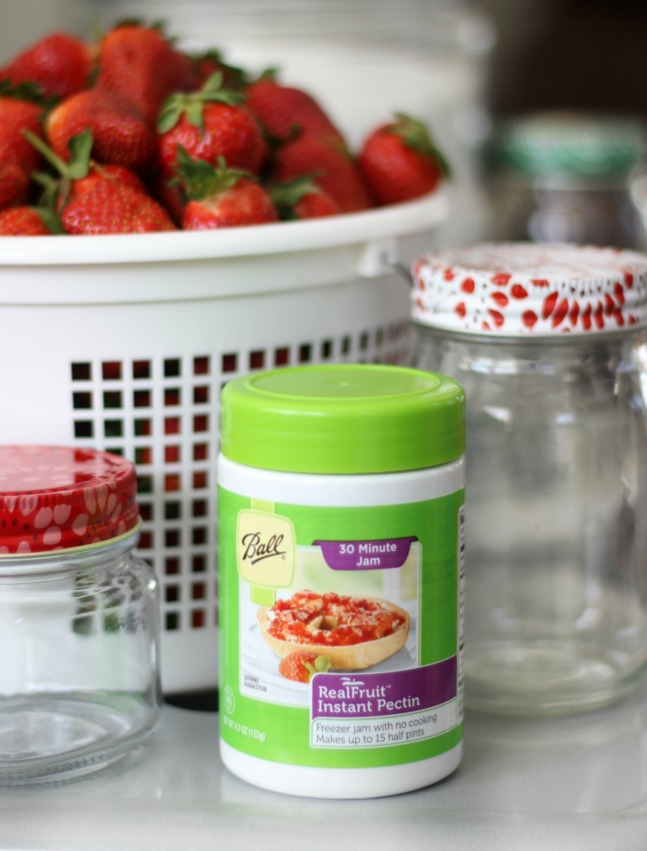 A fresh and delicious 30 minutestrawberry freezer jam recipe made with instant pectin. No cooking or heating! Mix sugar and pectin in with your fresh berries---that's it! Double or triple the recipe to make up to 6 (8 oz.) jars at a time.