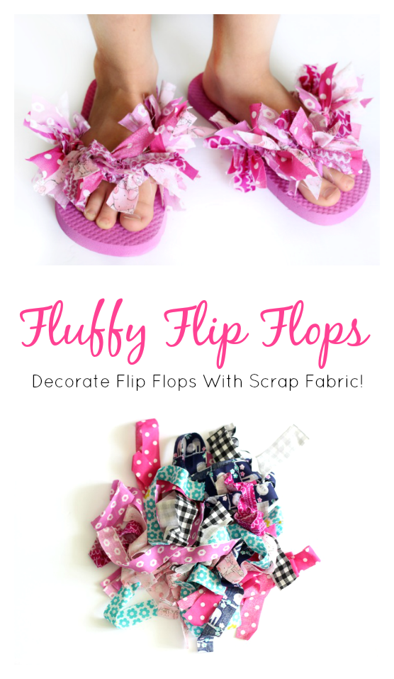 "Decorate flip flops with scrap fabric to make these fun and funky ""Fluffy Flip Flops"". A quick and easy summer camp project for girls and a great way to use up fabric scraps. Create patterns or tie the strips on randomly, the choice is yours!"