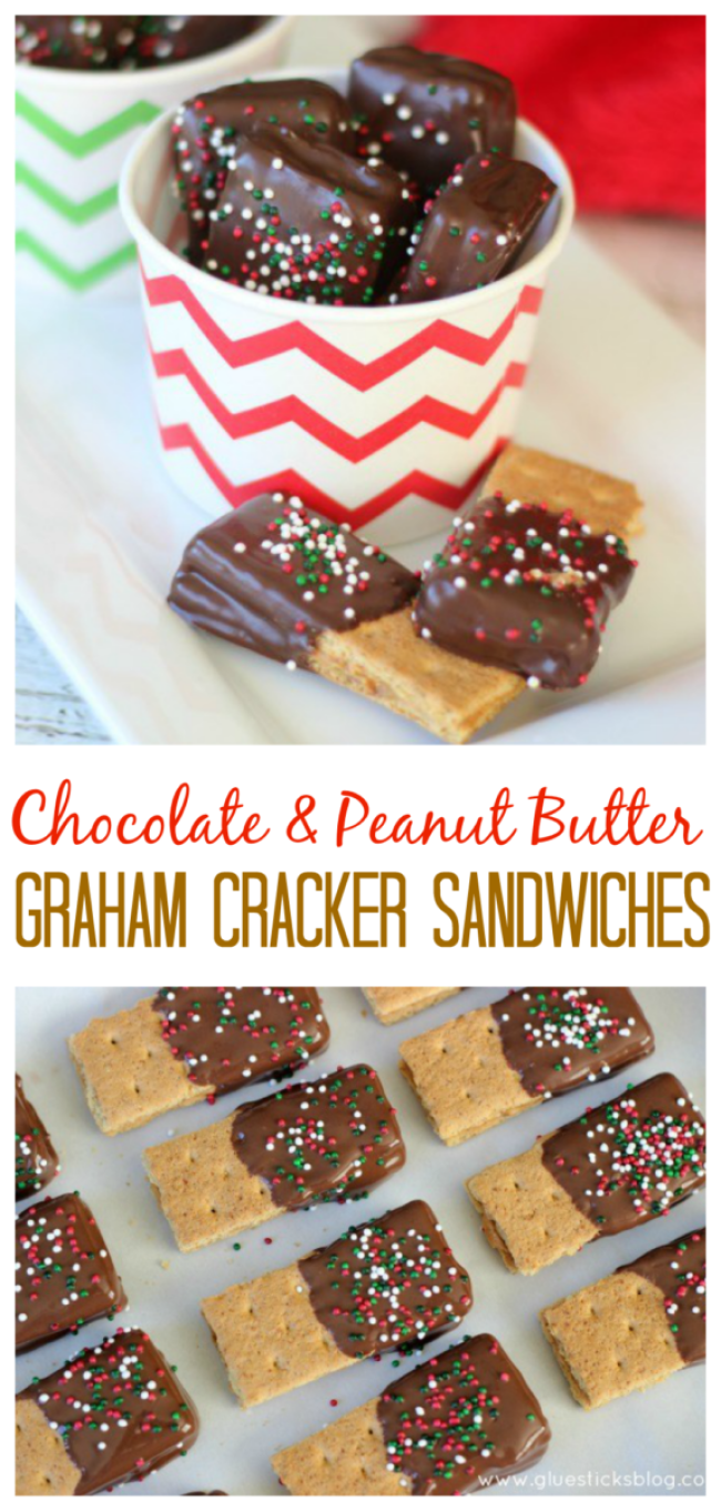 These chocolate dipped peanut butter graham crackers are just about the easiest dessert that you can make, but they are a FAVORITE over here! Sometimes we'll use other crackers like Club or Ritz, but the result is always the same. Delish!