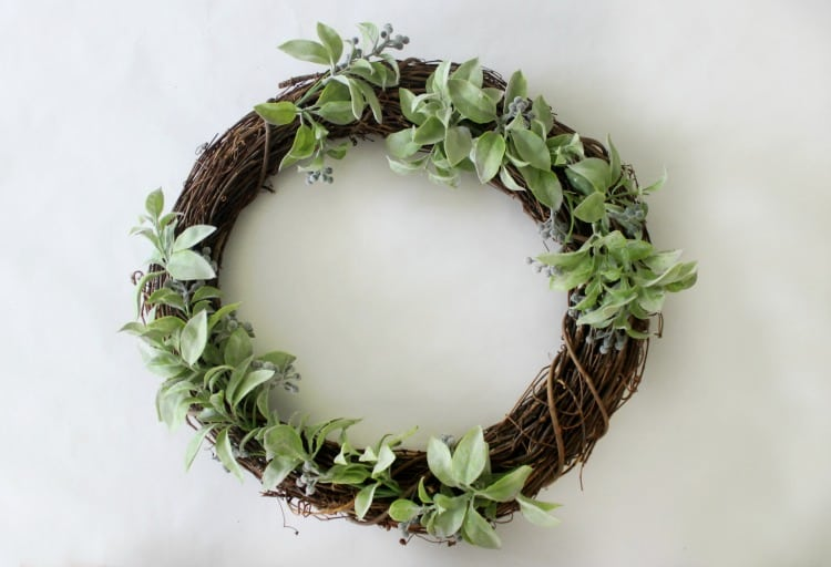 wreath with greenery wired on