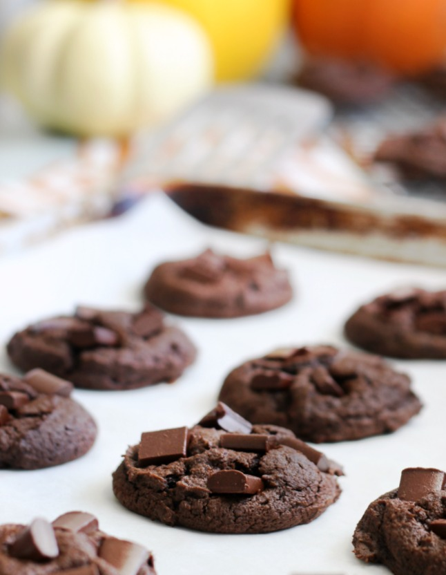 These chocolate pumpkin cookies are chewy, fudgy, and absolutely delicious. Many times pumpkin cookies have an odd texture---these don't!
