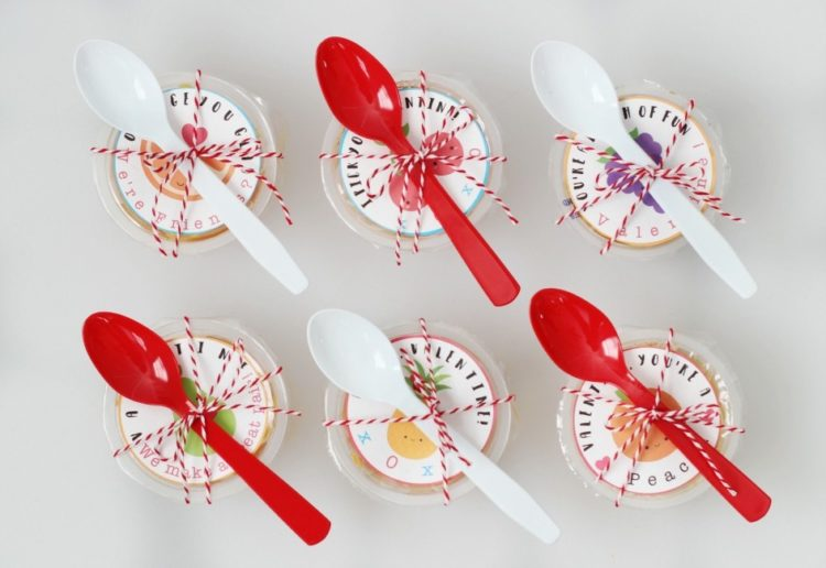 "These fruit cups with printable Valentine labels are a nutritious, non-candy, option for lunches and classroom parties! ""Valentine, you're a PEACH!"""