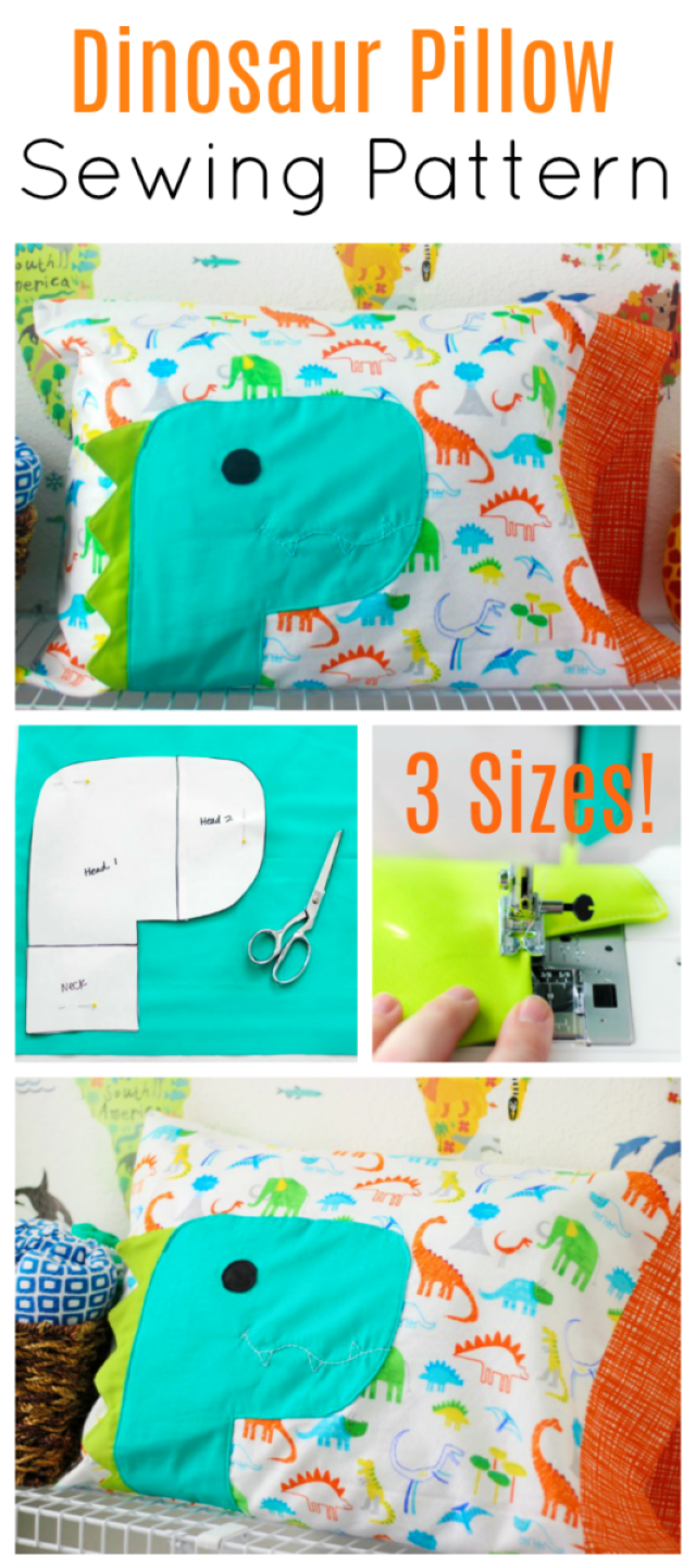 A free dinosaur pillowcase pattern available in travel, kid, or standard size! So cute and easy to customize. A great beginner sewing project.