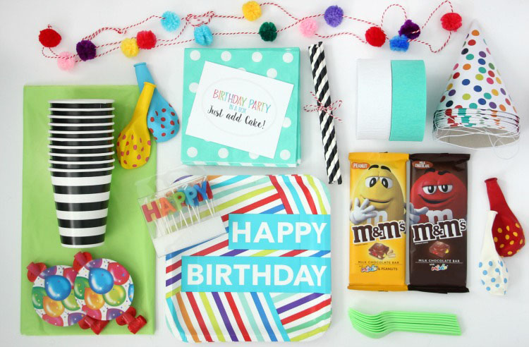 birthday box contents cups balloons napkins hats