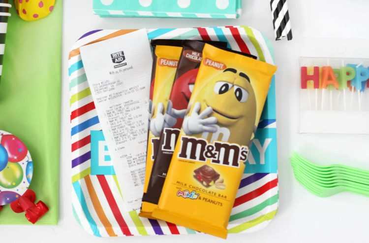 M&M candy bars on top of party plate