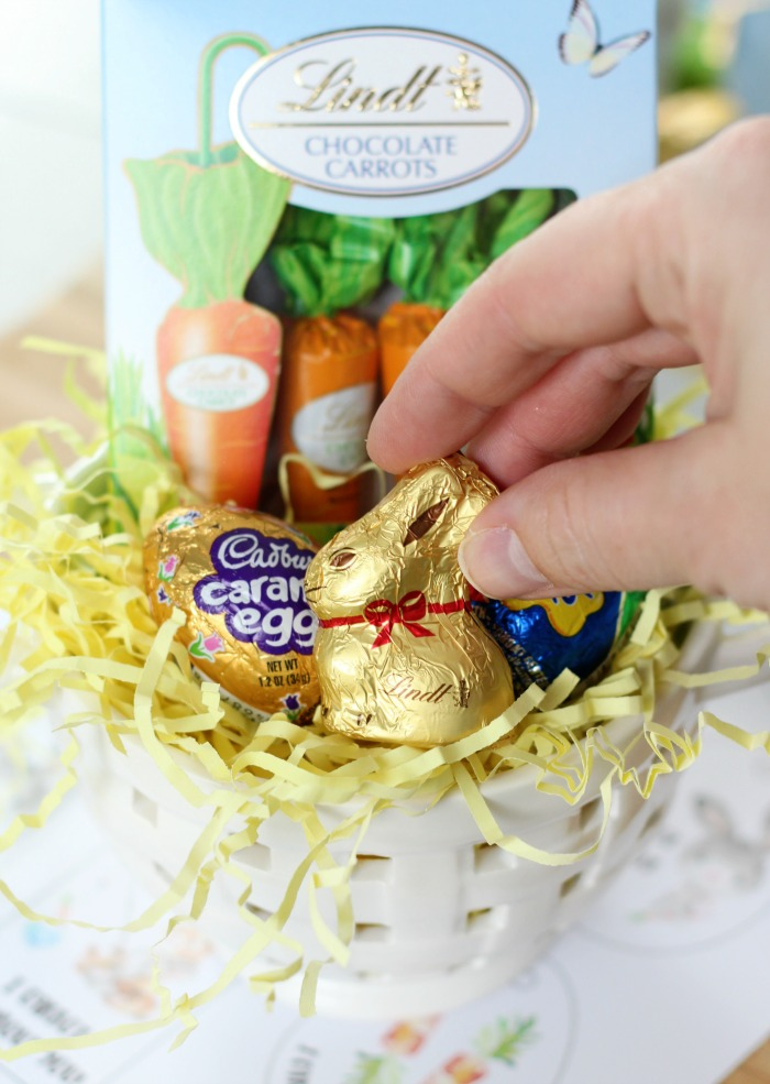 mini chocolate bunny in easter basket