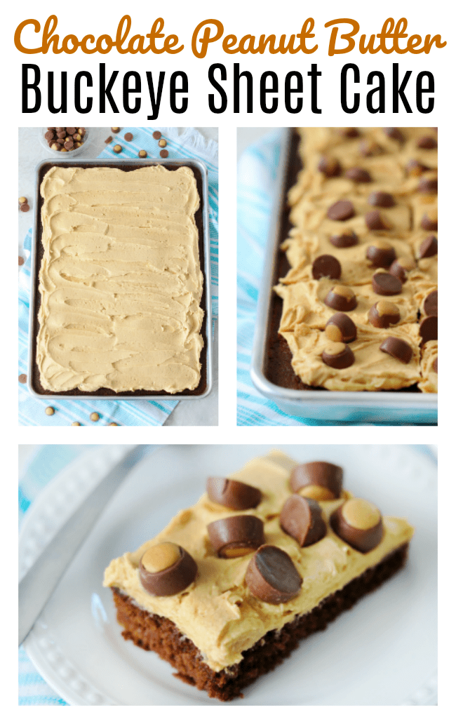 A classic Texas sheet cake spread with whipped peanut butter frosting and topped with mini buckeye candies. Chocolate peanut butter sheet cake is dessert perfection!