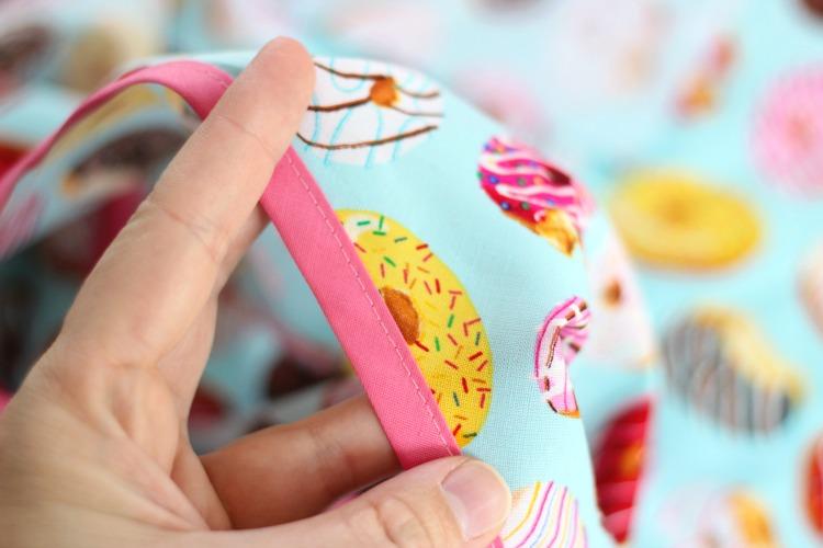bias tape sewn to fabric