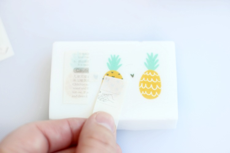 removing paper from temporary tattoo on soap