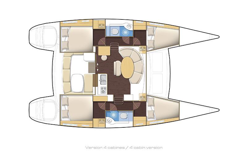 Die Raumaufteilung im Katamaran, Quelle: lagoon-catamaran.de
