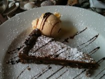 Gluten free chocolate cake at Bruschetta