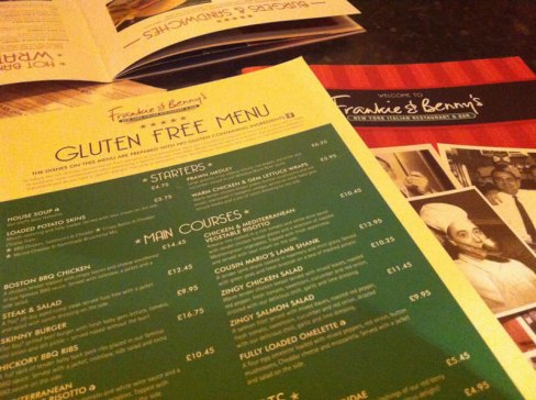Frankie & Benny's Gluten Free Menu