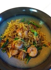 bacon and shrimp pasta