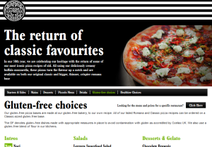 Pizza Express menu, ingredient information