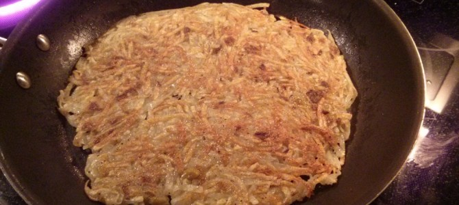 Potato pancakes with green chile