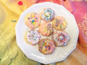 "Rainbow, or ""unicorn"" food seems to be everywhere these days! To this end, Grandma T and I created these magical gluten free spritz cookies."