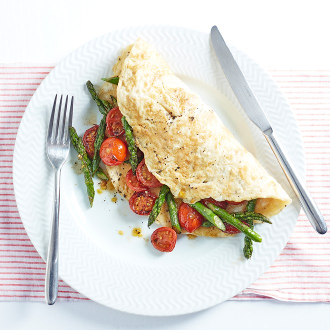 Asparagus and Cherry Tomato Omelette