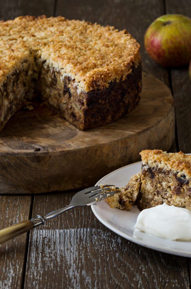 Apple & Date Cake With Toffee Coconut Topping_vertical