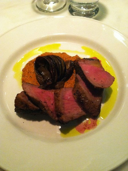 Pork secreto with smoked hazlenut romesco sauce