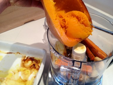 Scraping the squash into the processer