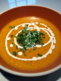 Garnished with creme fraiche and parsley