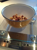 Weighing the toasted hazelnuts